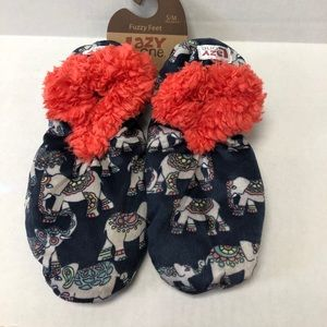 Lazy One Fuzzy Feet Slippers Blue with Elephants
